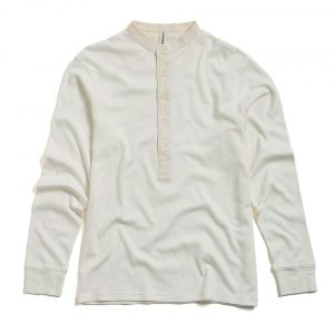 "Milos ""Maillot"" Henley Cream - long sleeved front"