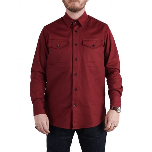 Milo's Maroon 100% Cotton Drill shirt front