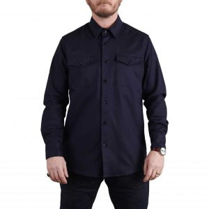 Milo's Navy 100% Cotton Drill Shirt 10oz front