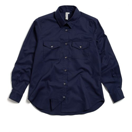 Milo's - Navy 100% Cotton Lady's Drill shirt front