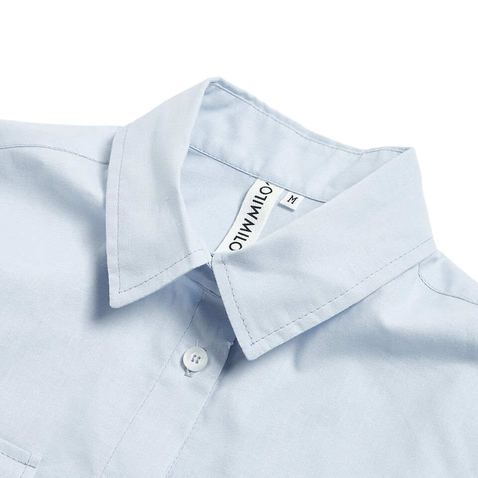 Milo's- Light Blue 100% Cotton Lady's Drill shirt collar