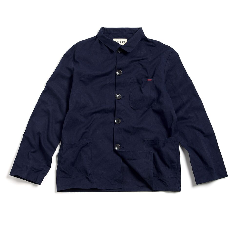 "Milo's - Navy 100% Canvas ""Laboureur"" Jacket front"