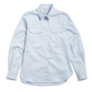 Milo's- Light Blue 100% Cotton Lady's Drill shirt front