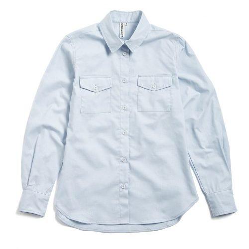 Milo's- Light Blue 100% Cotton Lady's Drill shirt front