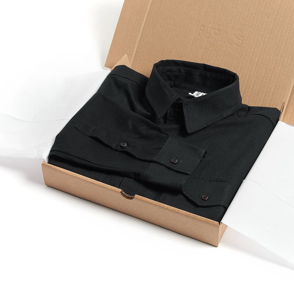 Milo's Black 100% Cotton Drill Shirt in box