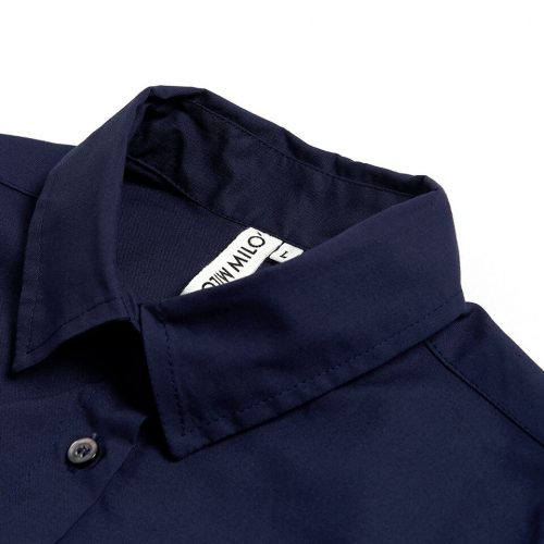 Milo's - Navy 100% Cotton Lady's Drill shirt collar