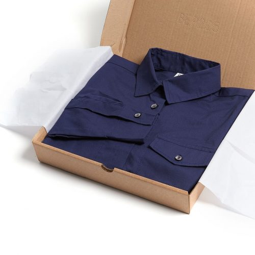 Milo's - Navy 100% Cotton Lady's Drill shirt in box