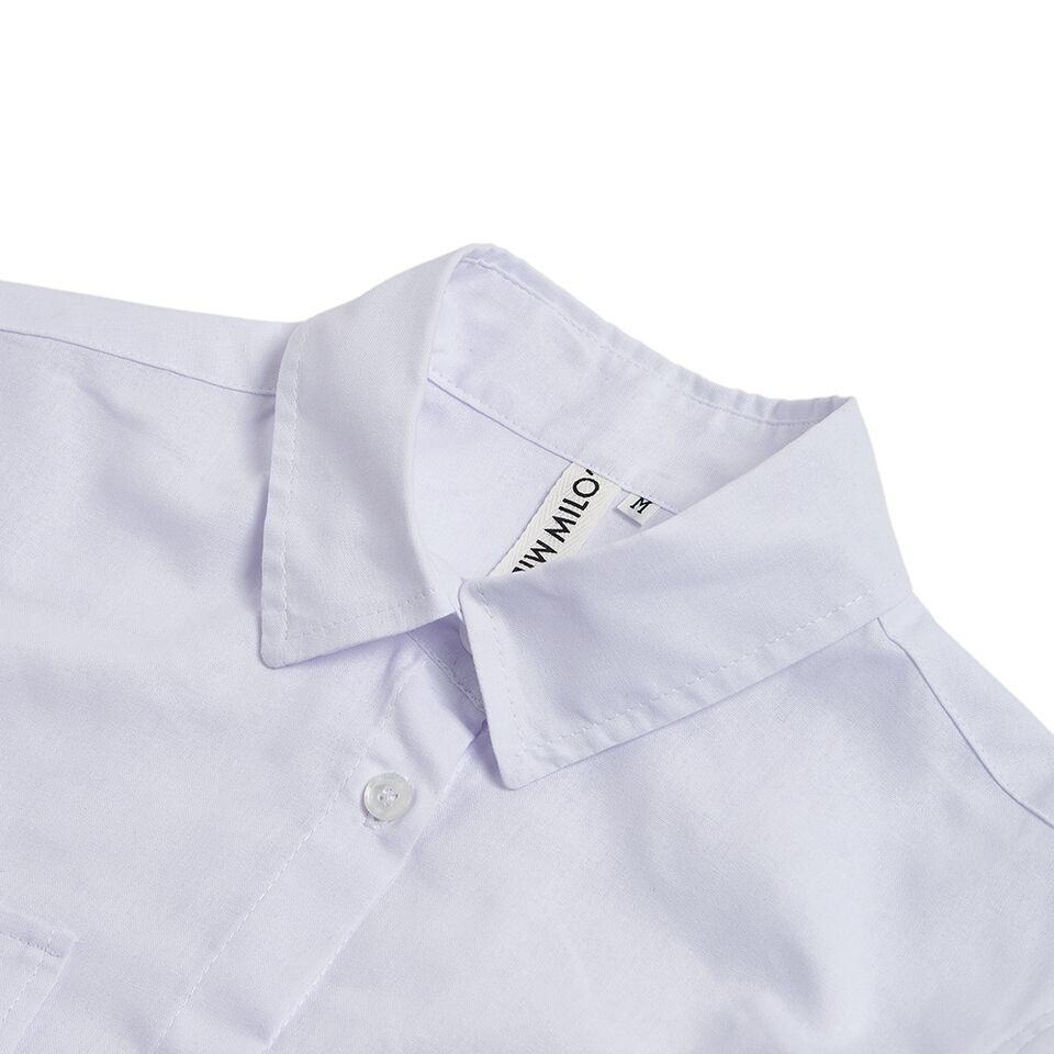 Milo's- White 100% Cotton Lady's Drill Shirt collar detail