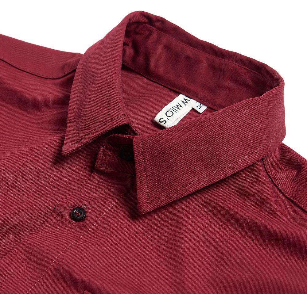 Milo's Maroon 100% Cotton Drill shirt collar detail