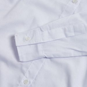 Milo's- White 100% Cotton Lady's Drill Shirt sleeve detail