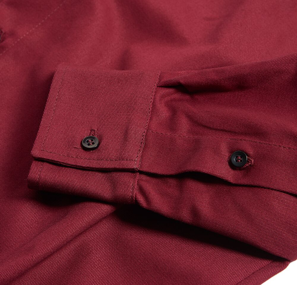 Milo's Maroon 100% Cotton Drill shirt sleeve detail