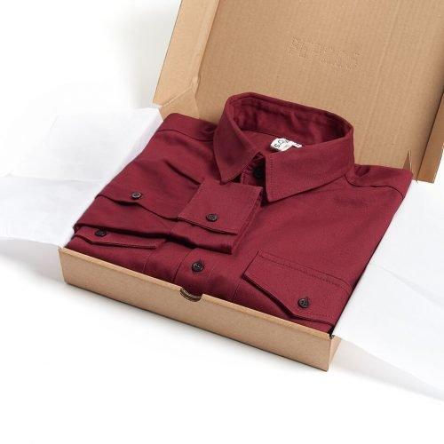 Milo's Maroon 100% Cotton Drill shirt in box