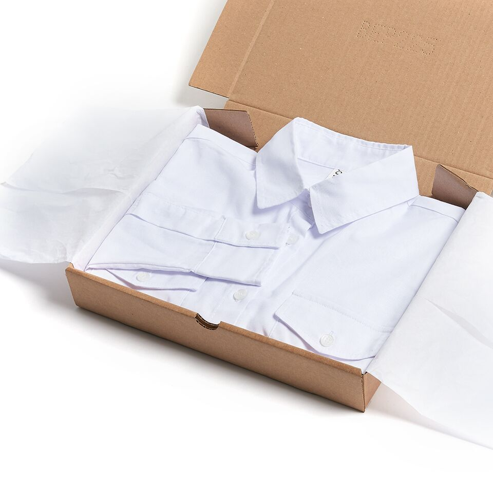 Milo's- White 100% Cotton Lady's Drill Shirt in box