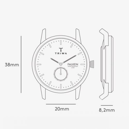 TRIWA Watches – Ruby Falken – Brown Classic - technical drawing