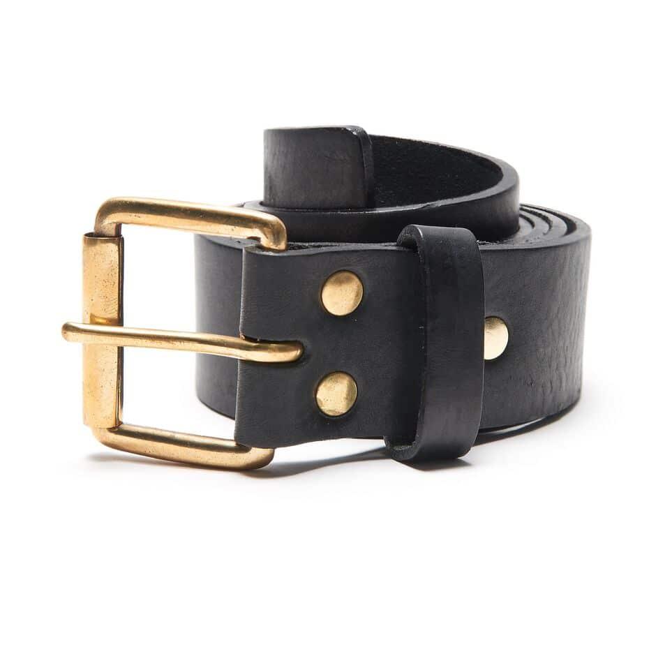 Milo's Black Leather Full Grain Jean Belt Rolled Up