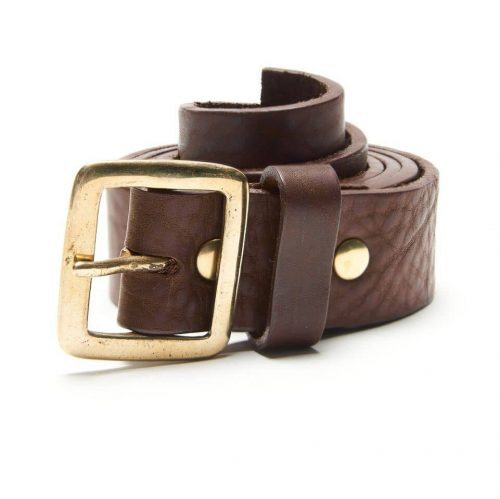 Milo's full grain leather brown jean belt - rolled up