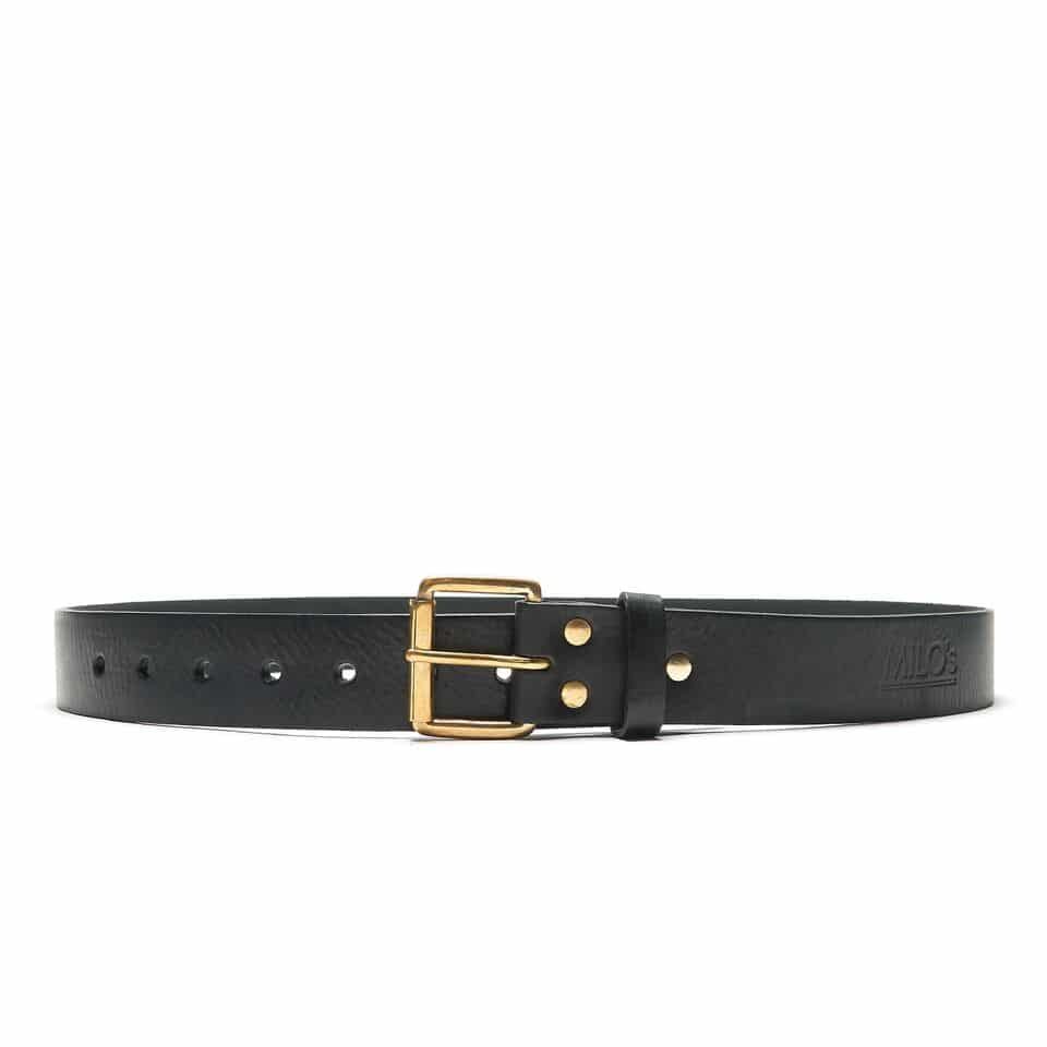 Milo's Black Leather Full Grain Jean Belt Front
