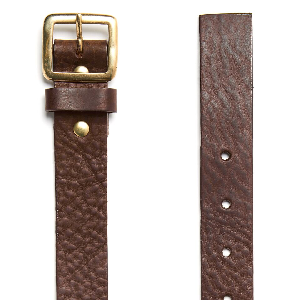 Milo's full grain leather brown jean belt detail