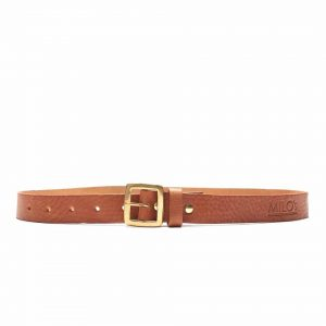 Milo's full grain leather tan jean belt buckled