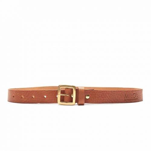 Milo's full grain leather tan jean belt buckled