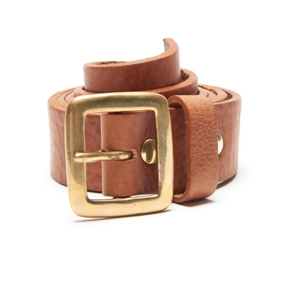 Milo's branded leather full grain tan jean belt