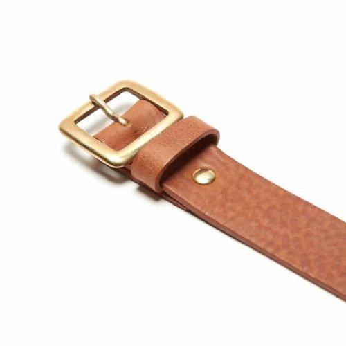 Milo's full grain leather tan jean belt - detail