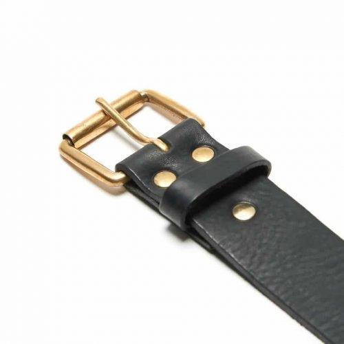 Milo's Black Leather Full Grain Jean Belt Detail