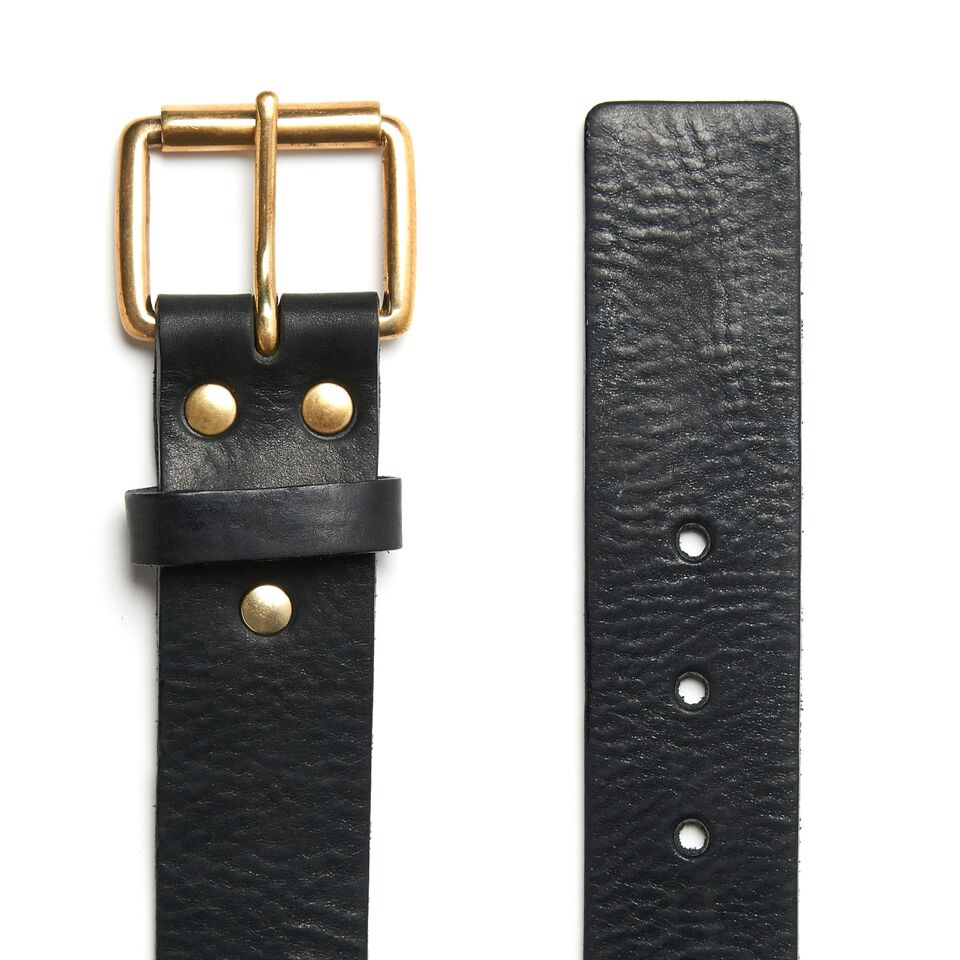 Milo's Black Leather Full Grain Jean Belt Flat