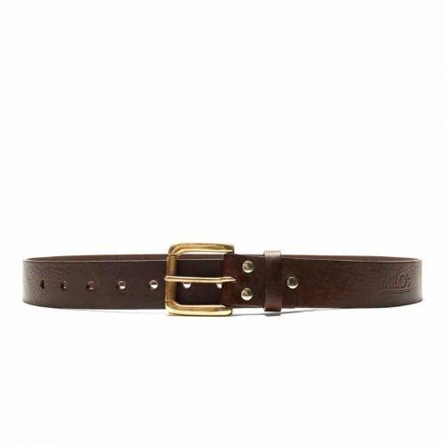 Milo's branded brown leather full grain Jean Belt Front