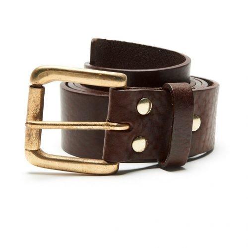 Milo's branded brown leather full grain Jean Belt Rolled Up