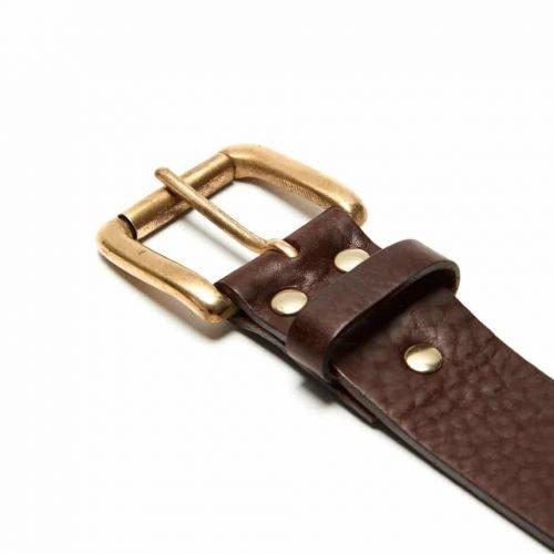 Milo's branded brown leather full grain Jean Belt Detail