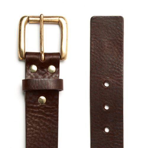Milo's branded brown leather full grain Jean Belt Flat