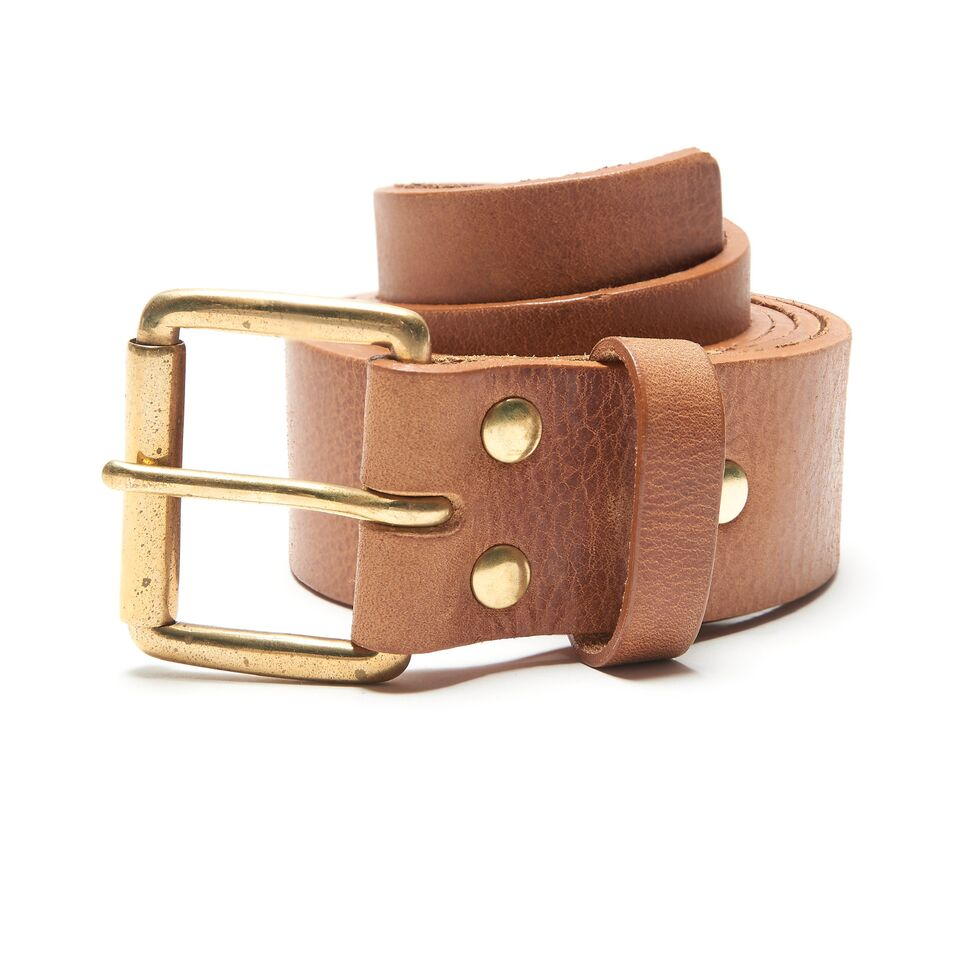 Milo's branded leather full grain Jean Belt Rolled Up