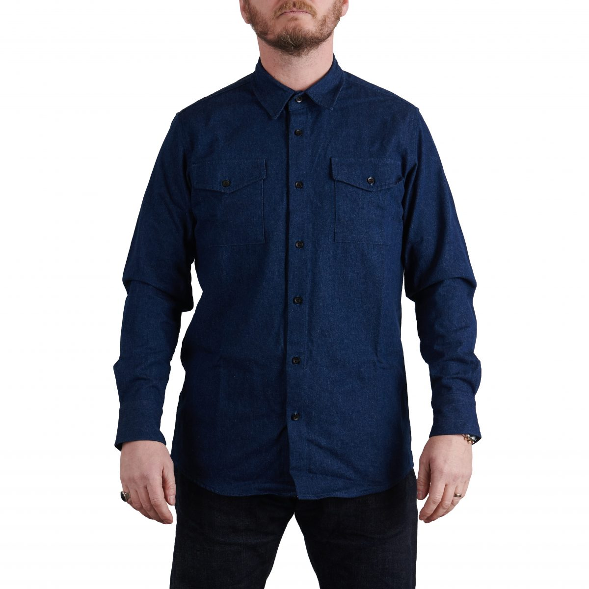 MIlo's Dark Blue Denim Cotton Drill Shirt on Milo