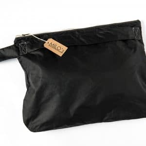Milo's Black Waxed Cotton Oversized Clutch - back