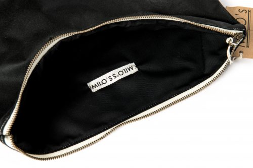 Milo's Olive Medium Clutch Bag inside