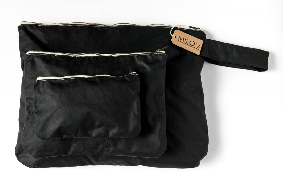 Milo's Black Waxed Cotton Bag Set