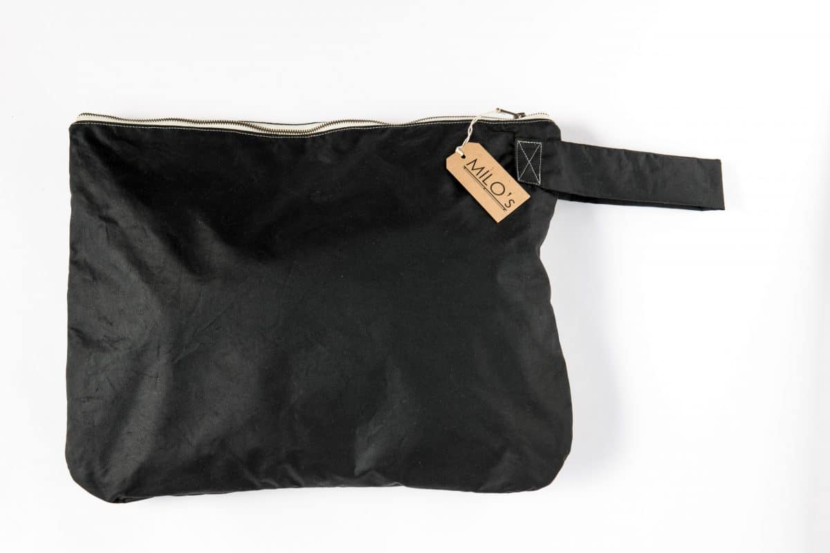 Milo's Black Waxed Cotton Oversized Clutch - front