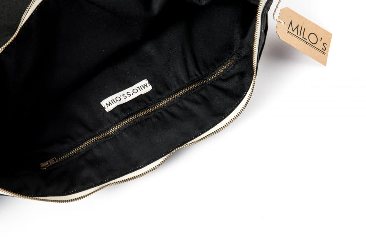 Milo's Black Waxed Cotton Oversized Clutch - inside