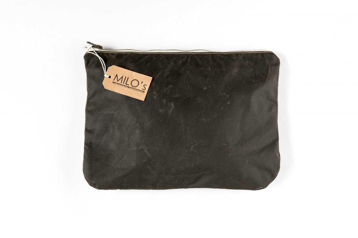 Milo's Olive Medium Clutch Bag - back