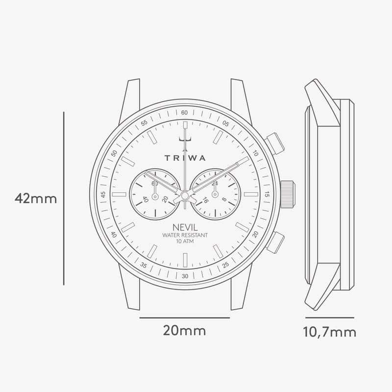 Triwa watches - Raven Nevil - Tumbled Brown Sewn Classic 2 - tech drawing