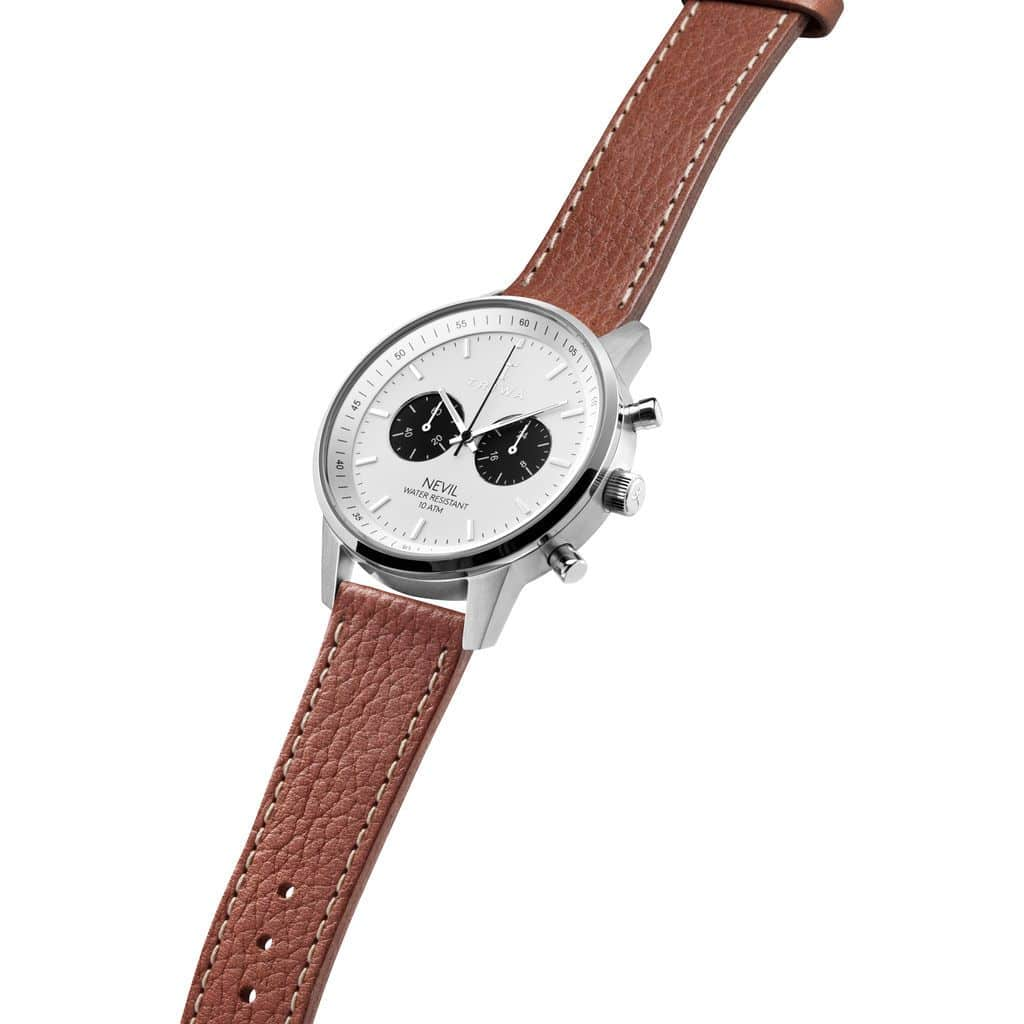 Triwa watches - Raven Nevil - Tumbled Brown Sewn Classic 2 - side view