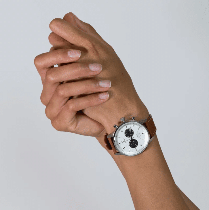 Triwa watches - Raven Nevil - Tumbled Brown Sewn Classic 2 - on female arm