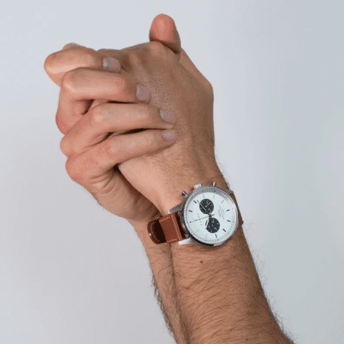 Triwa watches - Raven Nevil - Tumbled Brown Sewn Classic 2 - on male arm