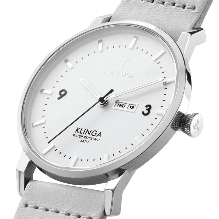 Triwa watches - Snow Klinga - Light Grey Silver Buckle - side detail