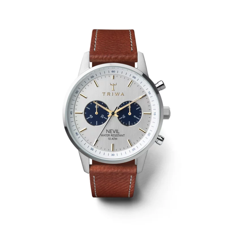 Triwa Watches - Loch Nevil - Brown Tumbled Sewn Classic 2 - front view