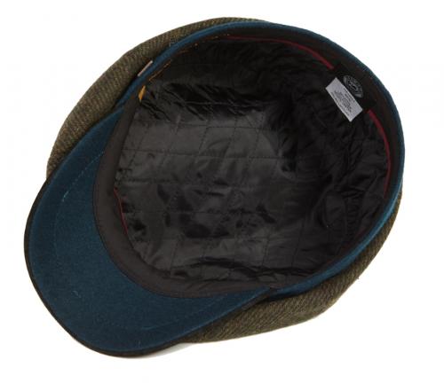 Dasmarca Charlie flat cap in Olive - inside