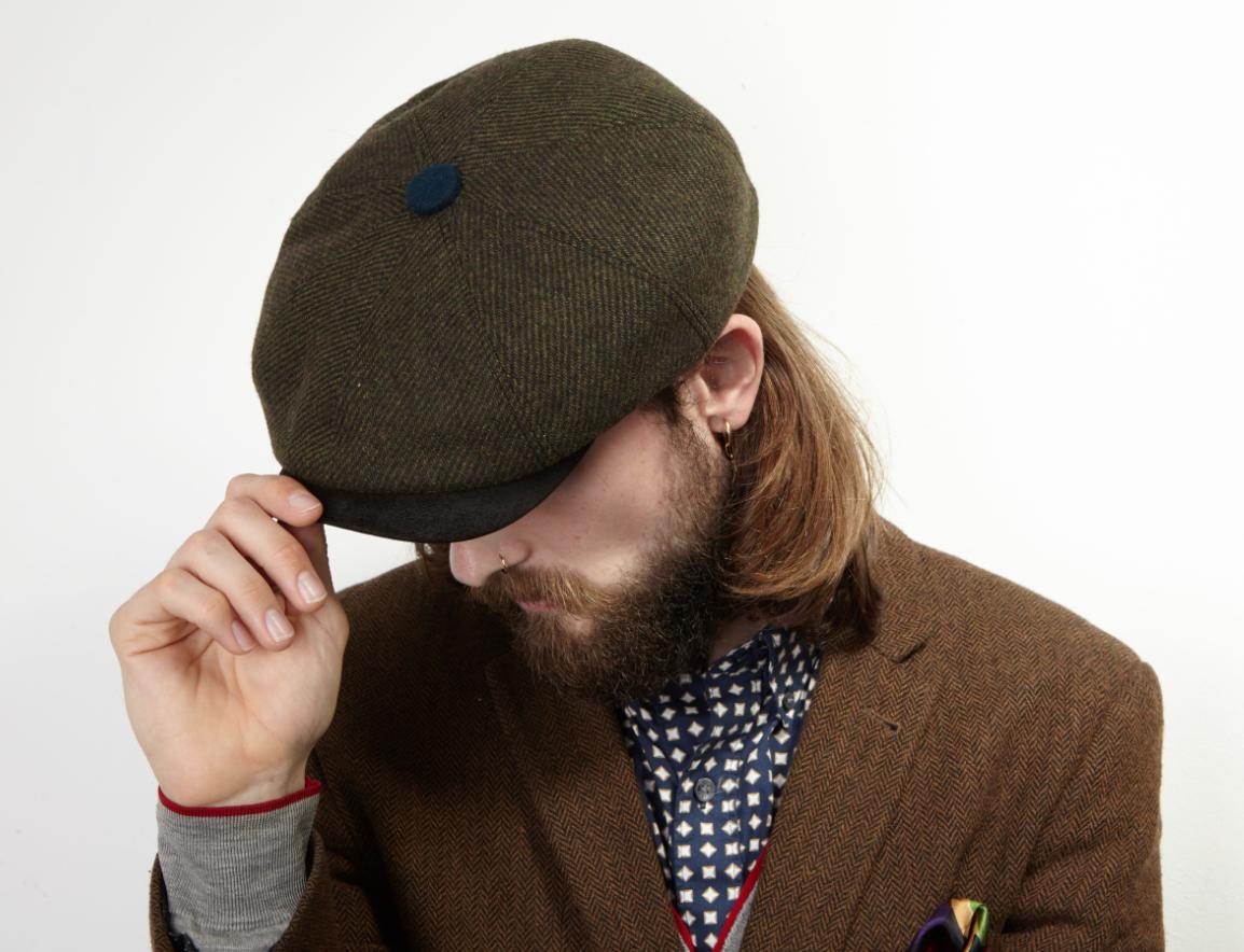 Dasmarca Charlie flat cap in Olive - top