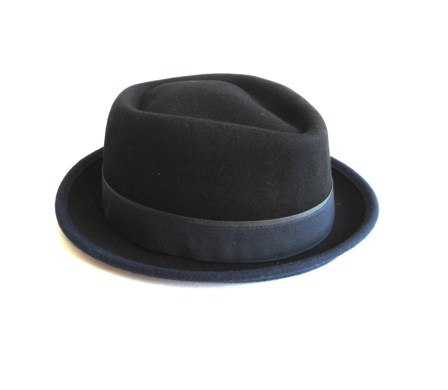 Dasmarca Edward porkpie hat in black/navy - back