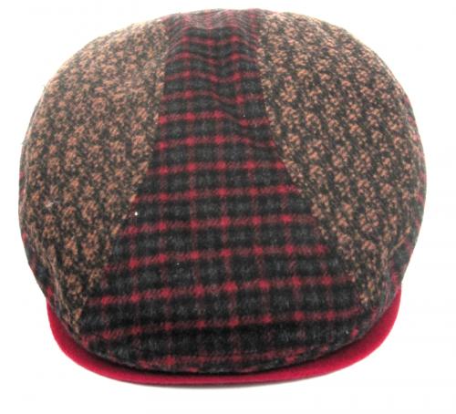 Dasmarca Felix tweed flat cap in Wine - front